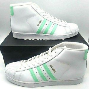 Adidas Mens Pro Model Basketball Shoes White Green